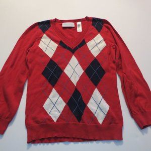 Liz Claiborne Red Black Arygle V Neck Sweater Med